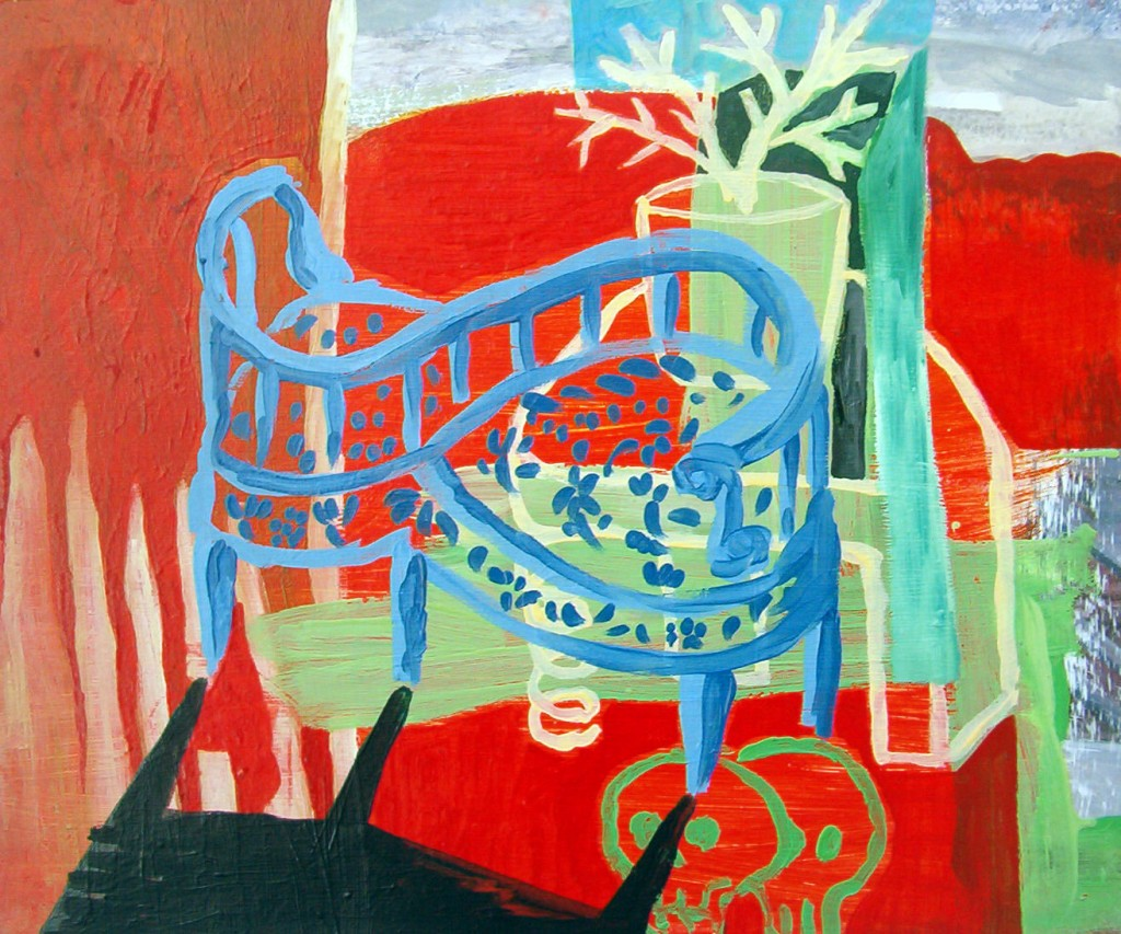 Sillaconfident. Oleo madera 46 x 62 cm. 2001.