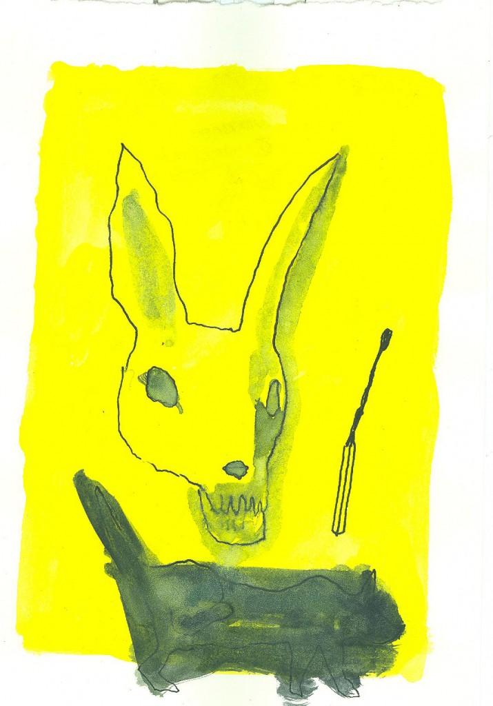 Liebre. Acuarela papel. 20 x 14 cm. 2014.