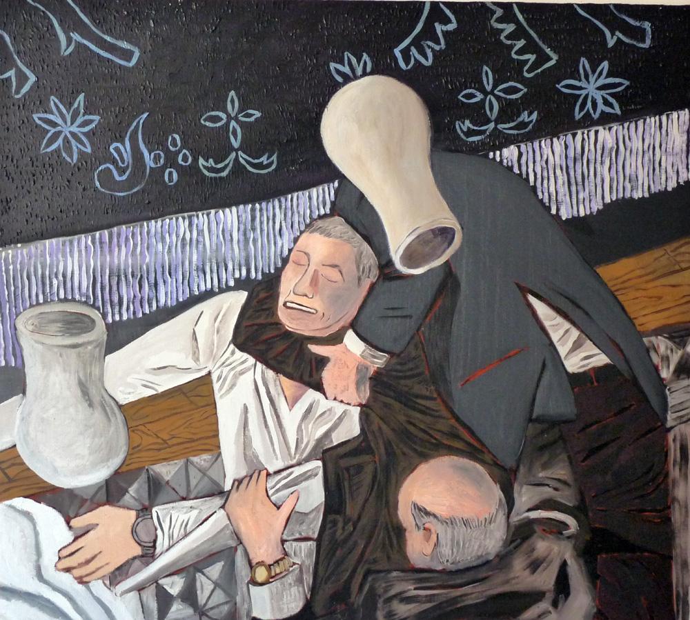 A por los jarrones. Oleo lino. 1oo x 110 cm. 2011.