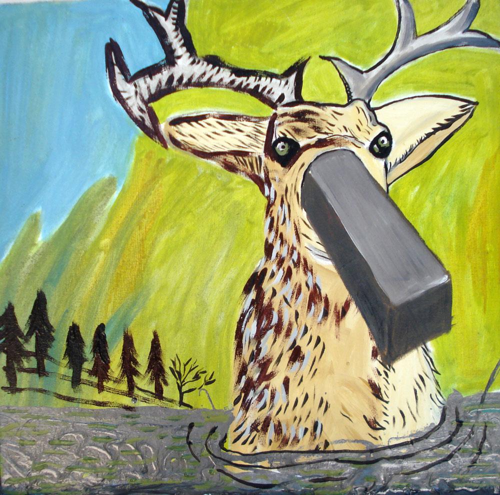 Ciervo y mercurio. Oleo tela. 45 x 45 cm. 2004.